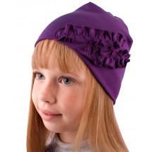 """Шапка весенняя фиолетовая для девочек """"рюши"""""""